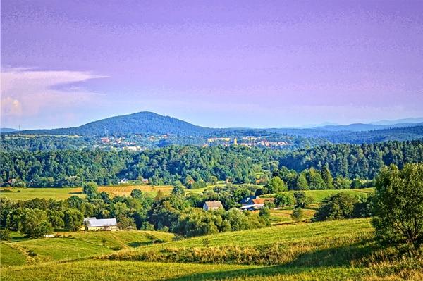Widok na miejscowość z trasy Zagórz-Lesko